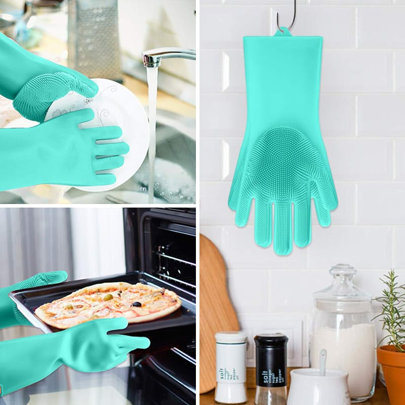 Pair of Heat Resistant Silicone Cleaning Gloves