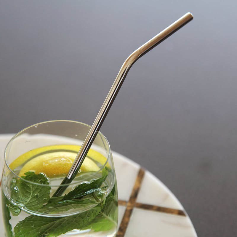 Pack of 12 Reusable Stainless Steel Curved Straws Including Cleaner Brush