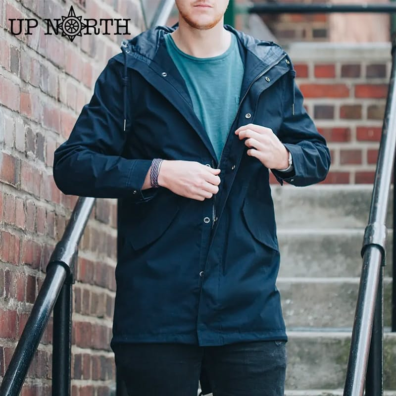 Men's Navy Hooded Parka Jacket