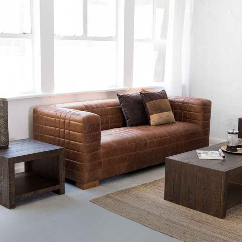 Brazilian Full Grain Leather Sofa - Tan