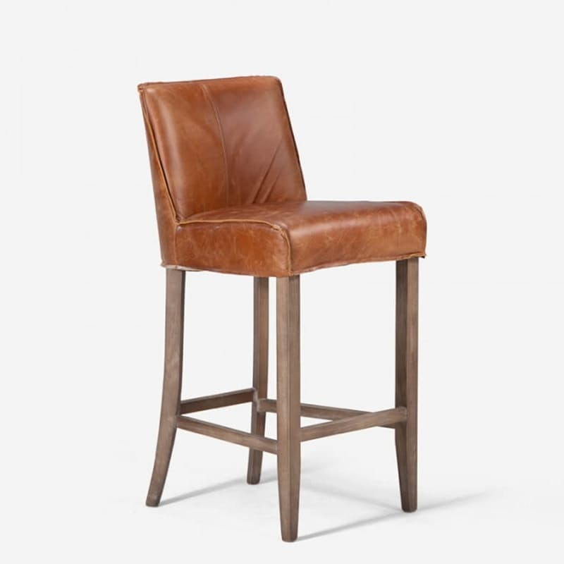 Full Grain Leather Bar Chair