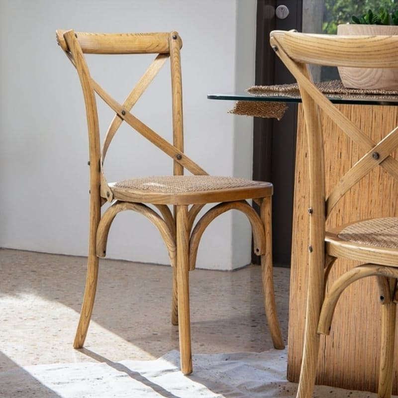 French Country Ash Wood Dining Chair with Rattan Padded Seat