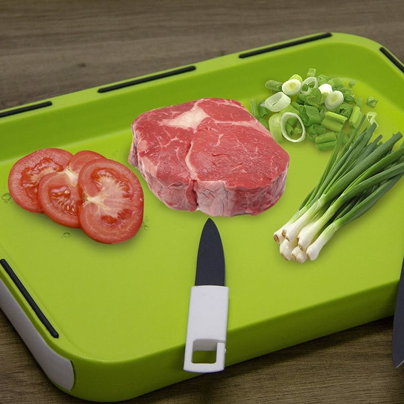 Multifunctional Chopping Board with 2 Slide-in Knives