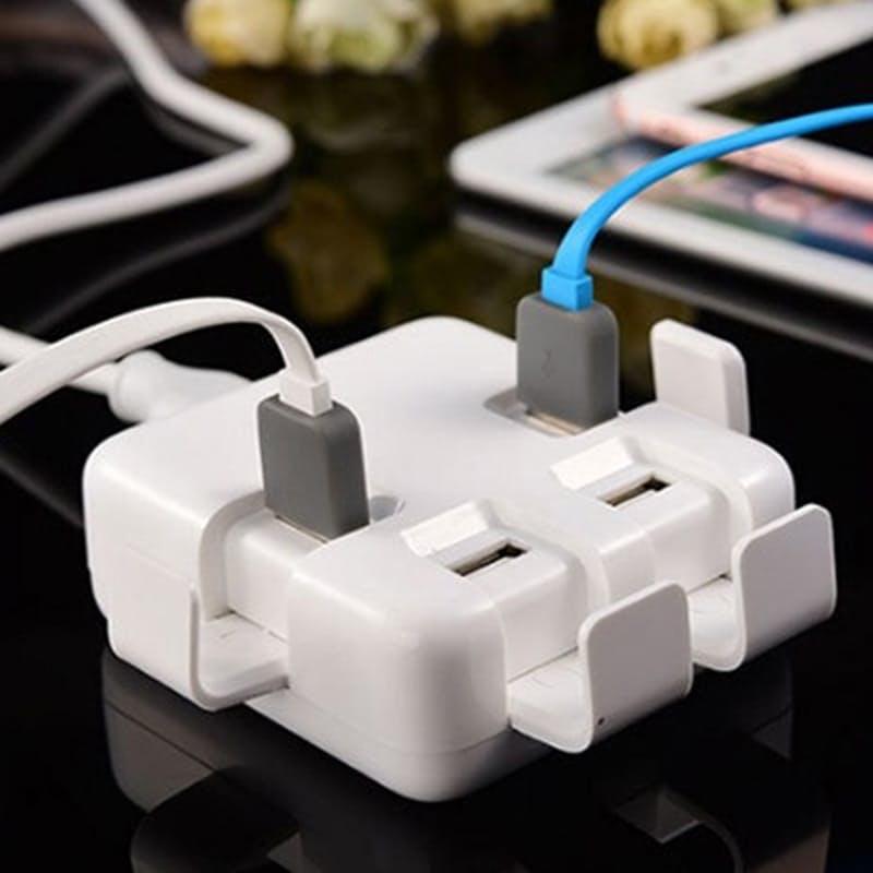 4-Port USB Charging Hub With Phone Holder