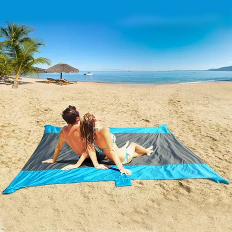 Giant Sand-Free Beach Mat with Anchors and Convenient Carry Pouch