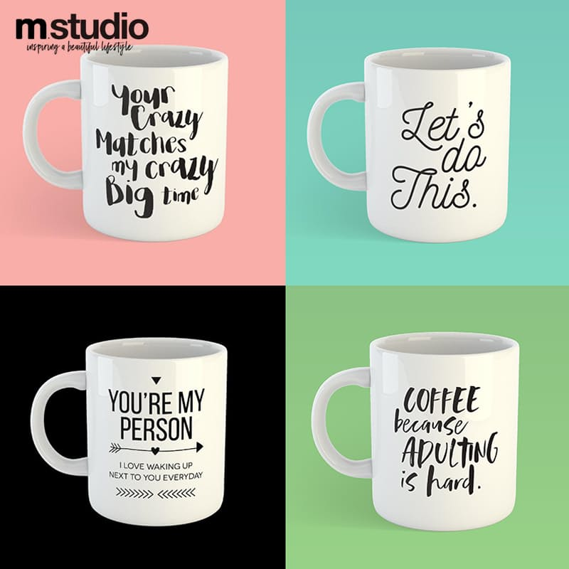 Set of 2 Motivational Quote Mugs