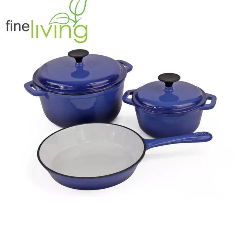 Blue Lifestyle 5 Piece Cast Iron Cookware Pot Set