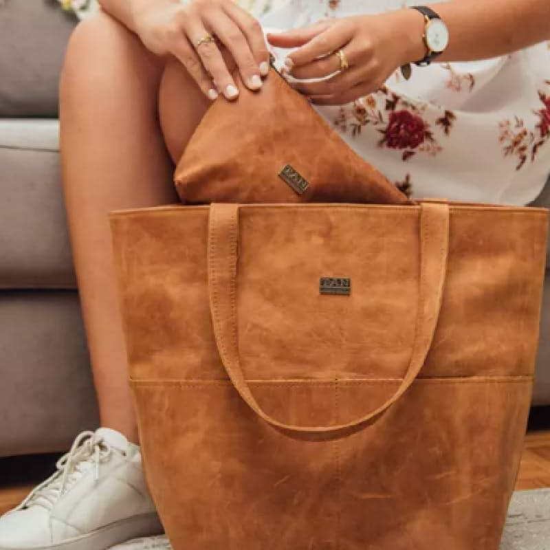 Emma Genuine Leather Tote with Front Pockets (Multiple Colours Available)