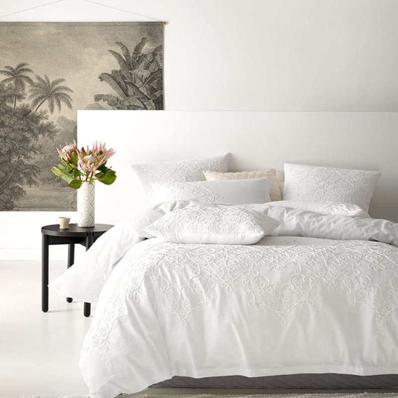 Penelope White Duvet Cover Set (with Standard Pillowcase/s)