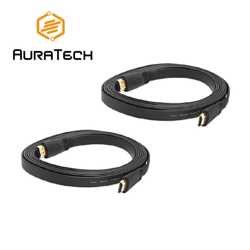 Pack of 2 Flat HDMI Cables (1m/1.5m/5m/10m)