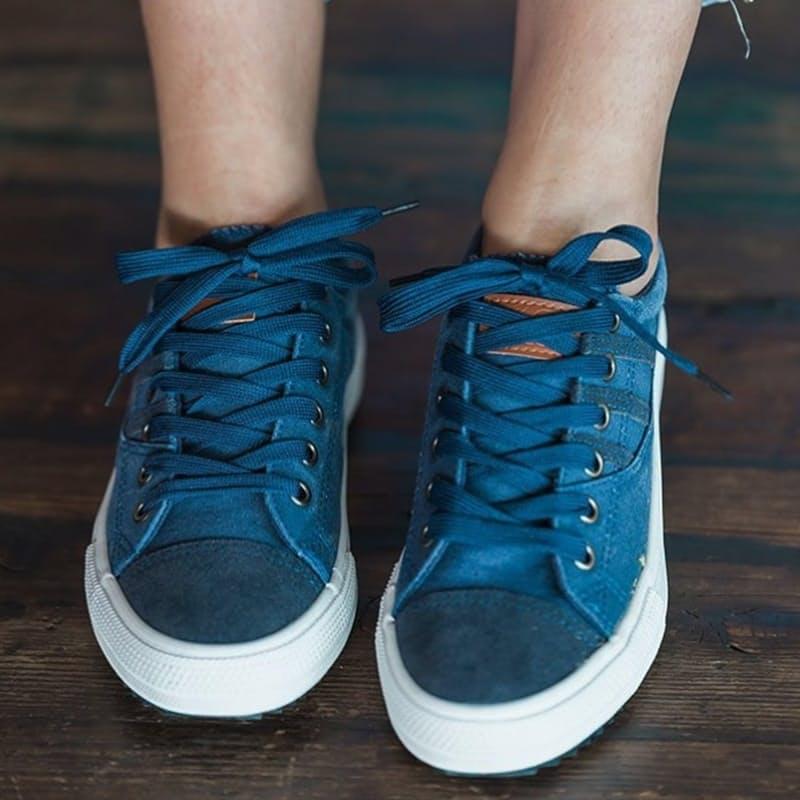 Ladies Navy Canvas Sneakers