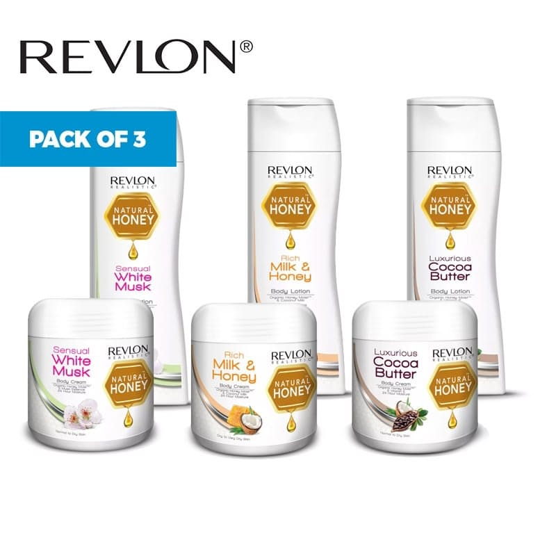 Pack of 3 - Revlon Natural Honey Lotions or Creams (Multiple Options Available)