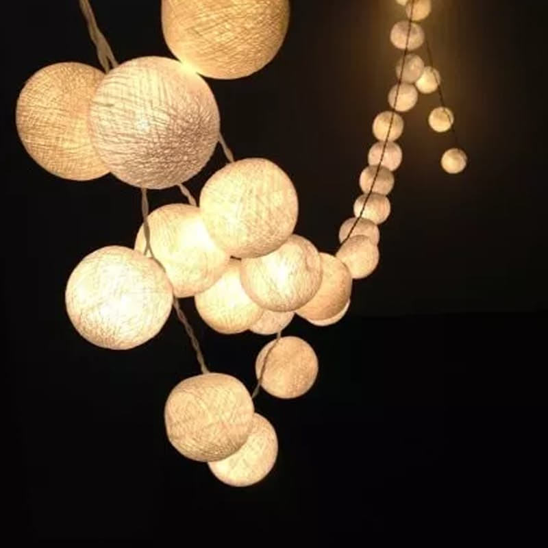 Warm White Cotton Ball String Lights (4.4m)