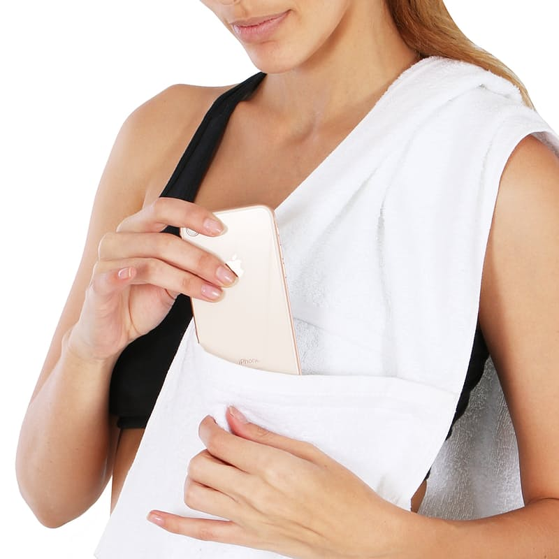 Pack of 2 100% Cotton Gym Towel with Accessory Pocket