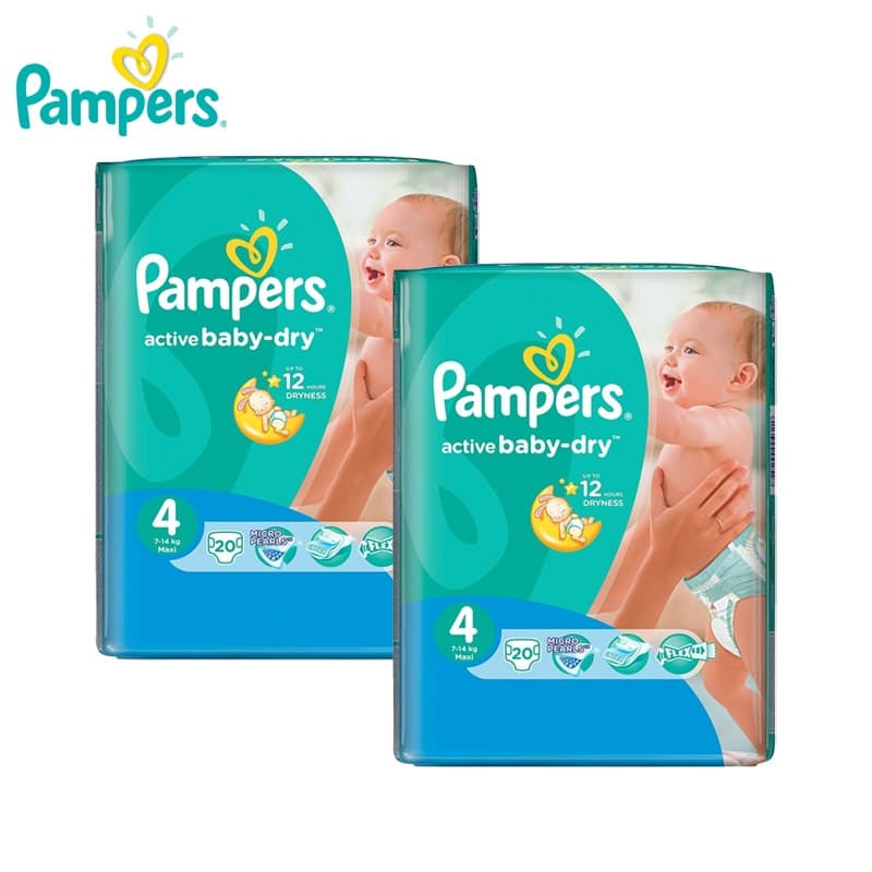 Pack of 2 Active Baby-Dry  Size 4 Regular Count Disposable Nappies