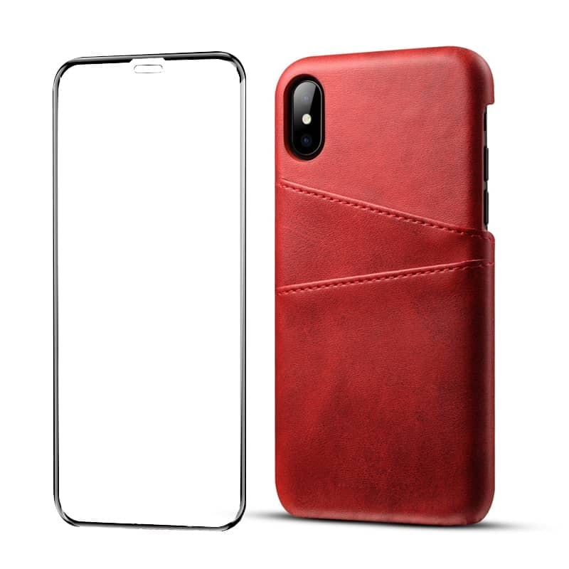 PU Leather Phone Cover with 2-Card Holder for Apple iPhone + 9D Tempered Glass