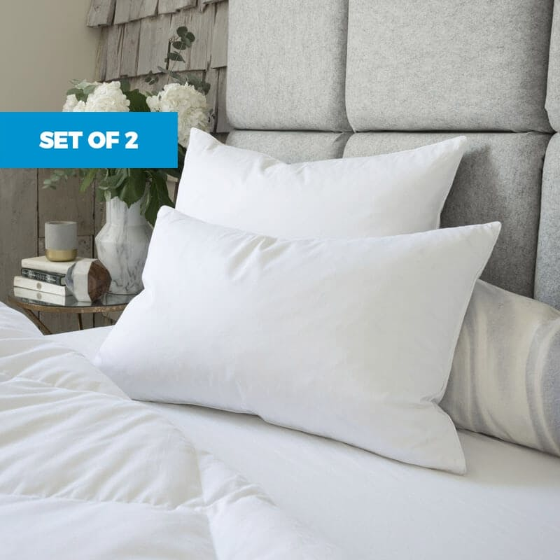 Goose Feather Down Pillows - Set of 2
