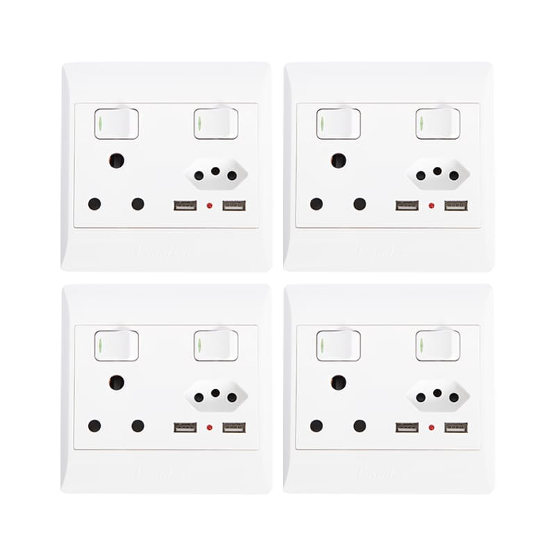 Pack of 4 Wall Sockets (1 x 2 Point, 1 x 3 Point and 2 x USB ports)