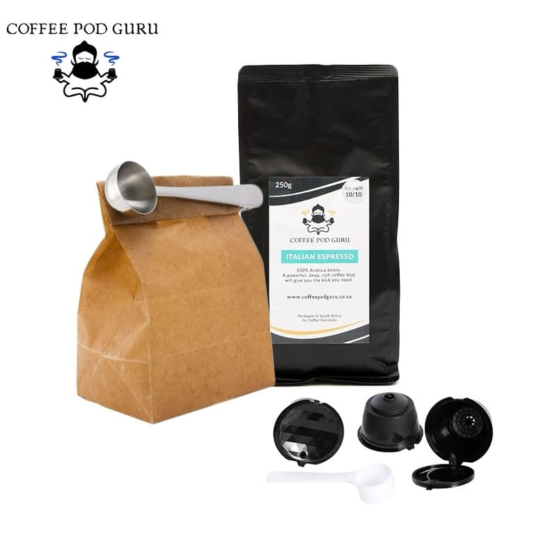 Dolce Gusto Compatible Reusable Pods, 250g Arabica Coffee & 2 Stainless Steel Spoons with Bag Clip