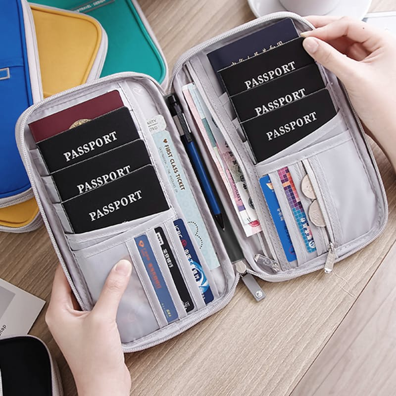 Family Sized Zip Around Passport Travel Wallet with RFID Card Slots