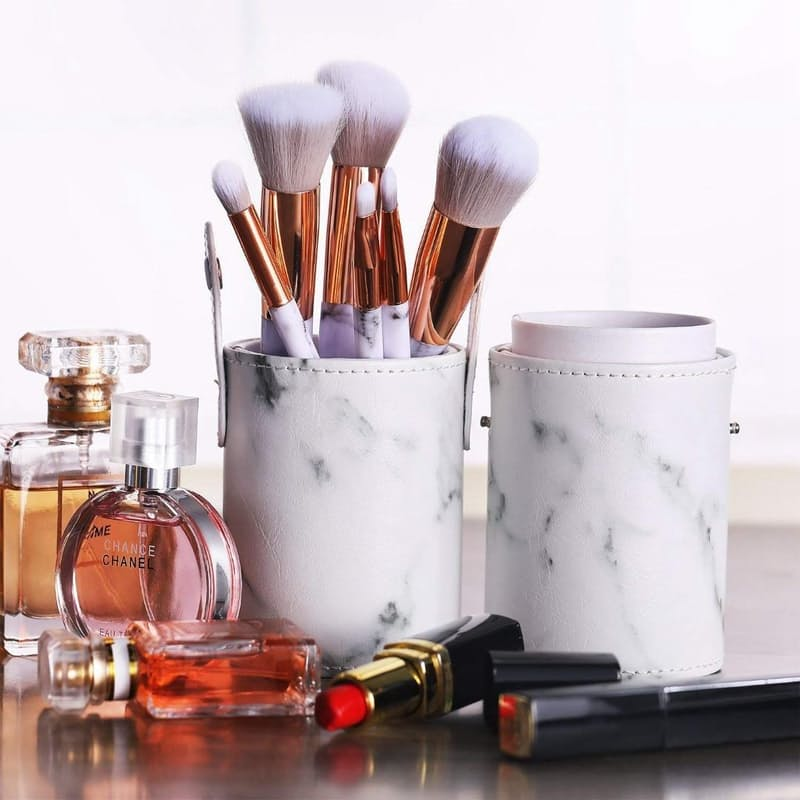 10 Piece Make-Up Brush Set in a Round Marble Carry Case