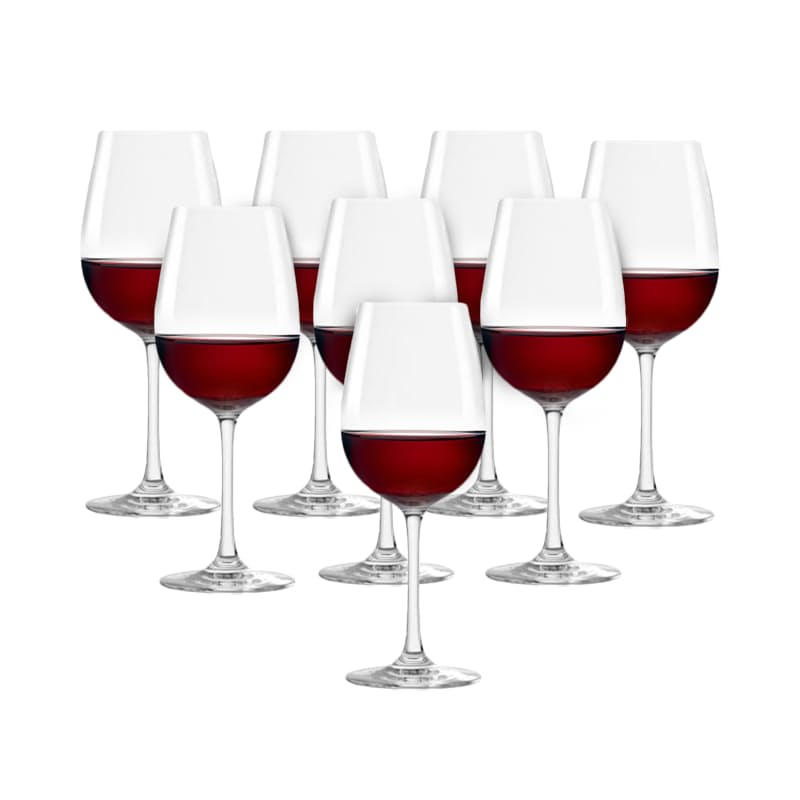 Set of 8 390ml or 500ml Crystal Wine Glasses