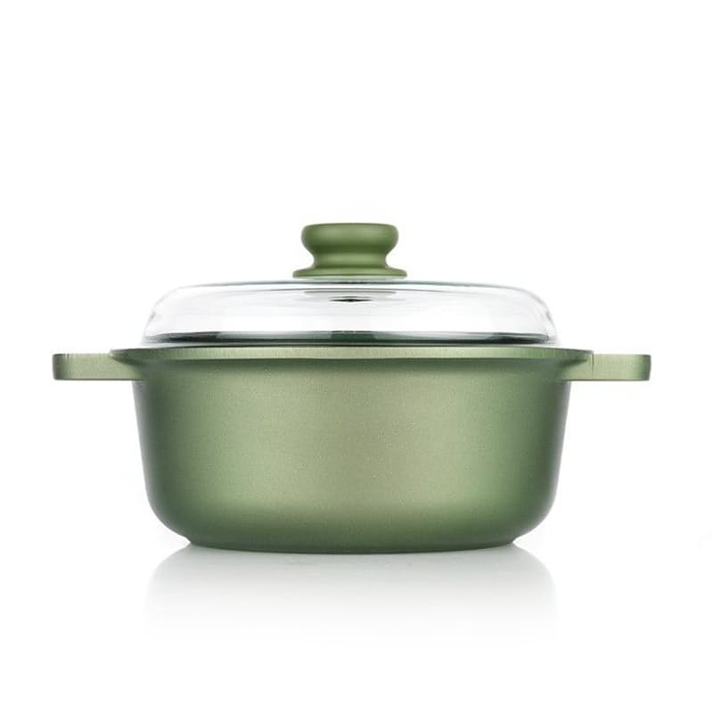 Dr GreenSaucepot with Glass Lid 24cm with Set of Silicon Pot Handles