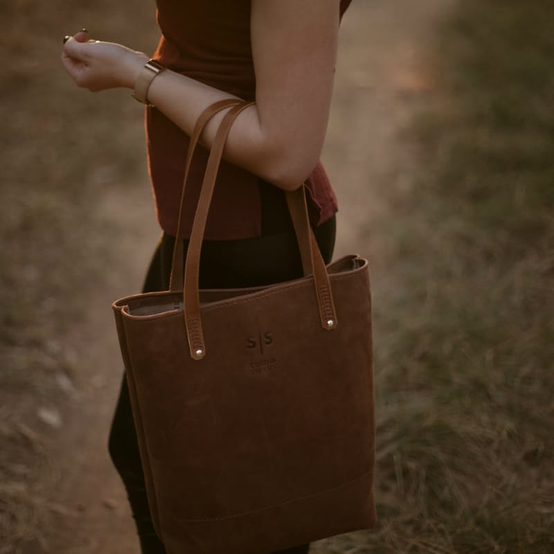 Genuine Leather Ruth Toffee Tote Bag