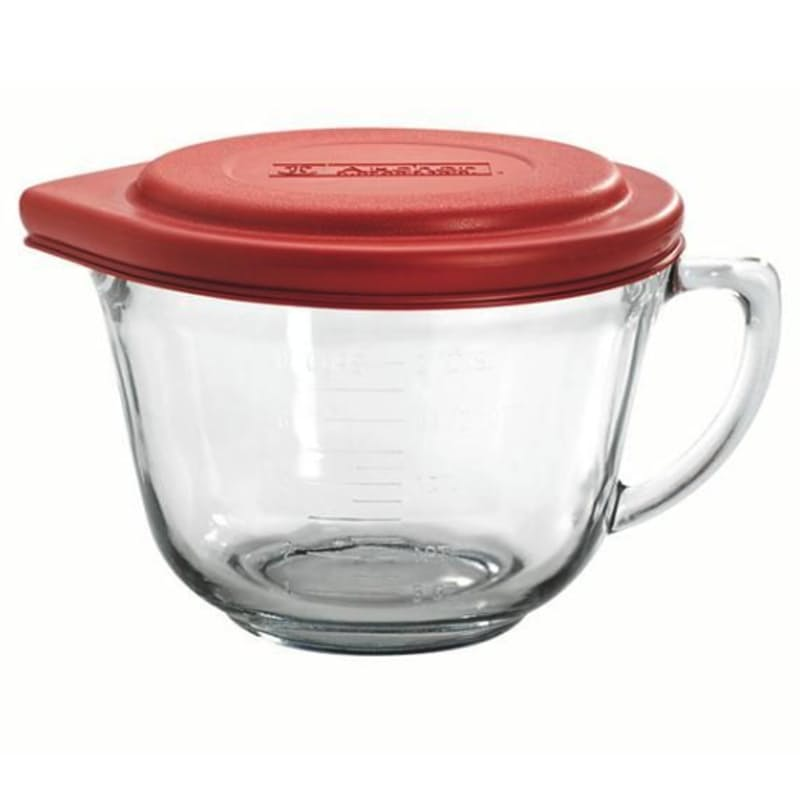 Glass Batter Bowl with Red Lid (1.8 Litres)