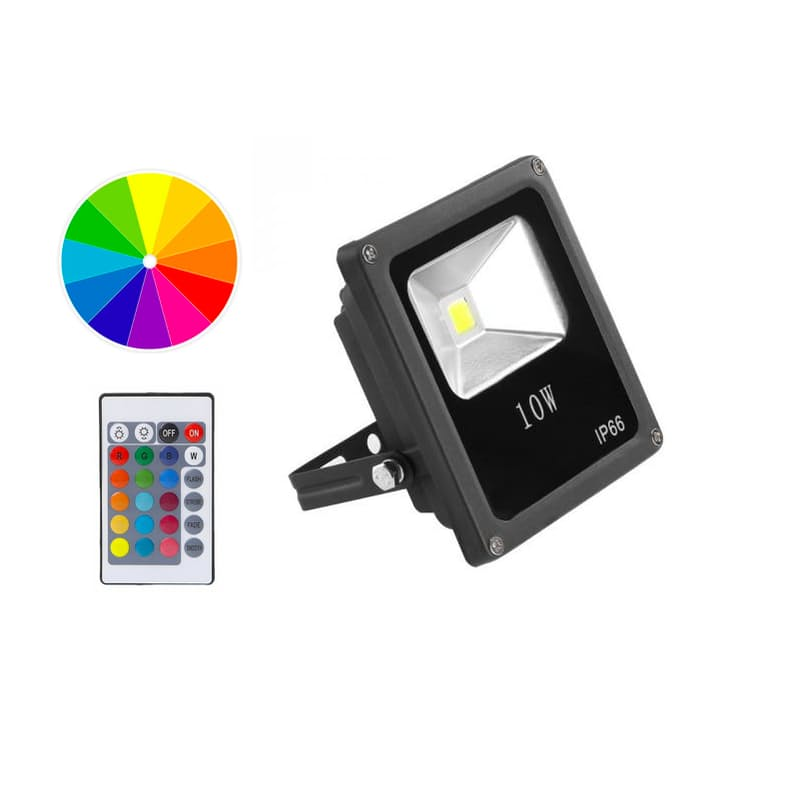 10W Slimline Outdoor LED Colour Changing Floodlight with Remote Control