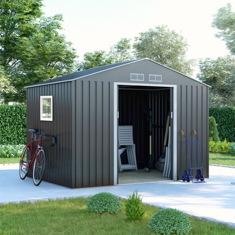 Galvanized Steel Garden Shed with Sliding Doors