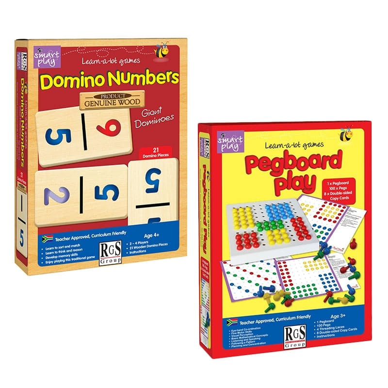 Children's Number Dominoes & Pegboard Play Games