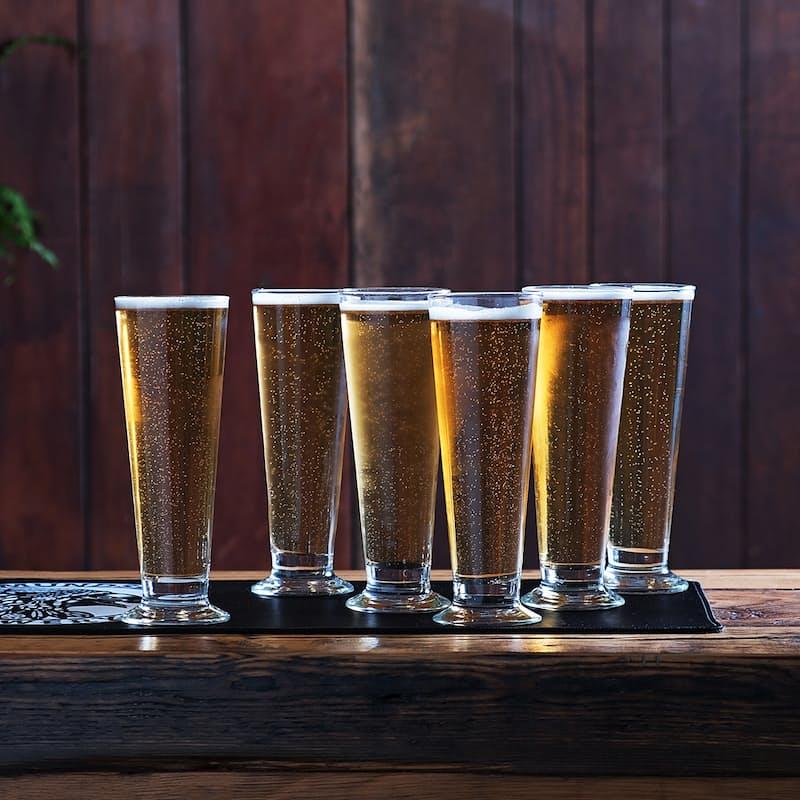 Set of 6, 400ml Footed Beer Glasses