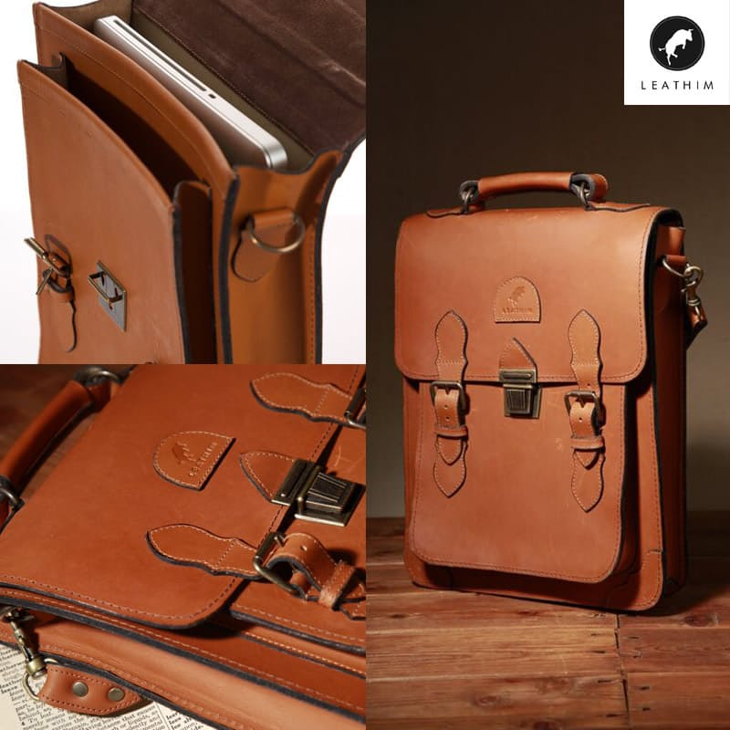 "13"" LongTom Handmade Leather Laptop Bag"