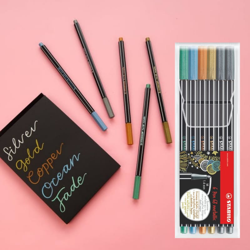 Pack of 6 Metallic Point 68 Pens