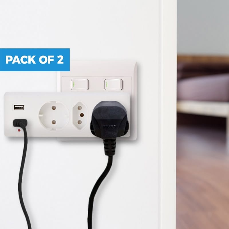 2-Pack 3 Way Multi-plug (3 x Power Points and 2 x USB)