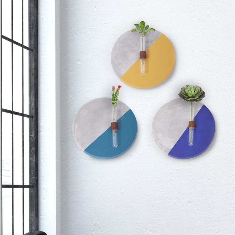 Set of 3 Handcrafted Cement Wall Plant Displays