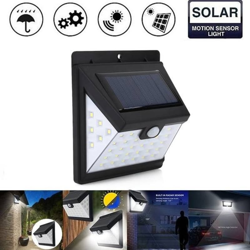 Pack Of 2 40 LED Solar Powered LED Wall Lights