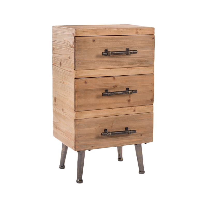 Fir Wood 3 Drawer Pedestal