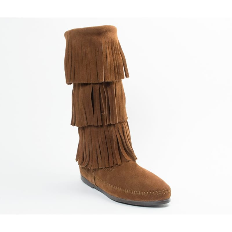 Calf Hi 3 Layer Fringe Soft Suede Genuine Leather Boot