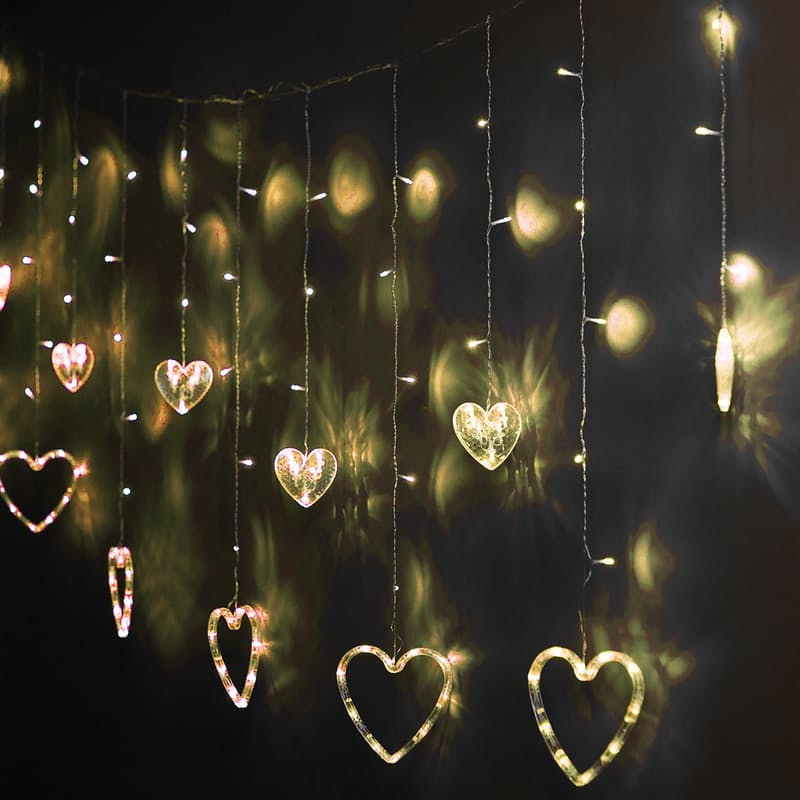 2.5m String of Heart Curtain Lights