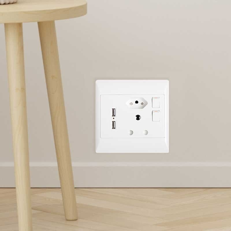 Pack of 2 Wall Sockets ( 1 x 3 Point, 1 x 2 Point and 2 x USB ports)